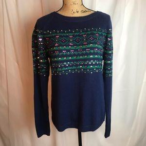 NWOT Talbots Embellished Fair Isle Sweater